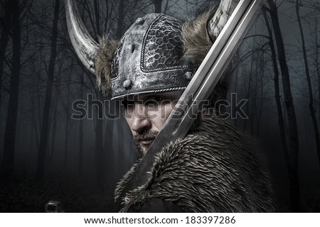 Sword, Viking warrior with helmet over vintage textured background - stock photo
