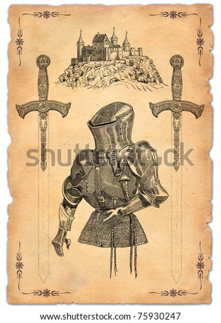 Swords and knight - stock photo
