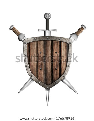 swords and wooden shield isolated - stock photo