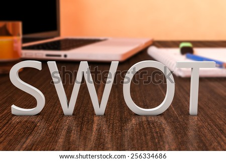 SWOT for strengths, weaknesses, opportunities and threats - letters on wooden desk with laptop computer and a notebook. 3d render illustration. - stock photo