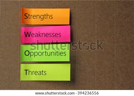 SWOT (Strengths Weaknesses Opportunities Threats) text on colorful sticky notes - stock photo