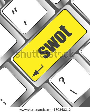 SWOT word on computer keyboard key button - stock photo
