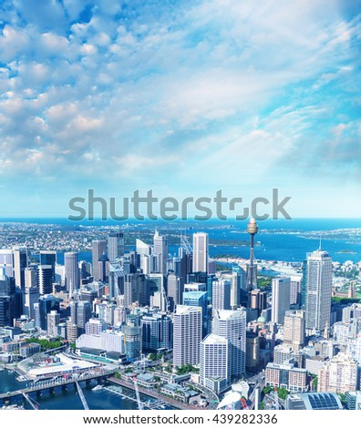 Sydney aerial view of Darling Harbour at sunset. - stock photo