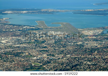 sydney airport area, aerial view - stock photo