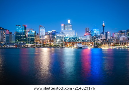 SYDNEY - April 2:Sydney central business districtl from the daring harbour april 2, 2010 in Sydney, Australia. - stock photo