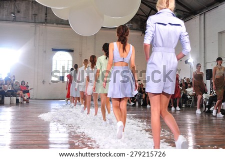 SYDNEY AUSTRALIA - 15 APRIL 2015: Final walk during Jennifer Kate leather female clothes collection fashion show runway at Mercedes Benz Fashion Week in Carriageworks Sydney Australia.  - stock photo