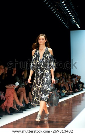 SYDNEY AUSTRALIA - APRIL 14: Ginger&Smart fashion show runway at Mercedes Benz Fashion Week in Carriageworks Sydney Australia. April 14, 2015 Sydney Australia.