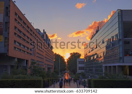 SYDNEY, AUSTRALIA - APRIL 5, 2017: Sunset at the main walk of University of New South Wales