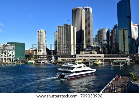 SYDNEY, AUSTRALIA- AUG 17, 2017: A ferry approaches Circular Quay, the most popular harbour in Sydney.
