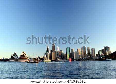 Sydney, Australia - Aug 21, 2016. Opera House and the business district's skycrapers from Kirribilli.
