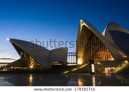 Sydney, Australia - August 19 - A closeup of the steps and sails of the Sydney Opera House at dusk on August 19th 2008. - stock photo