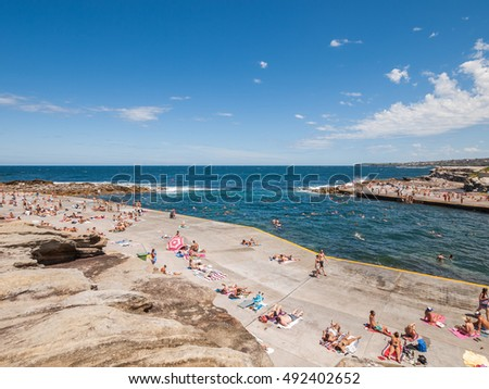 Sydney, Australia, 07/07/2016, Bondi to Bronte Ocean Walk, Tamarama beach, New South wales. Beautiful blue sky on a warm summers day.