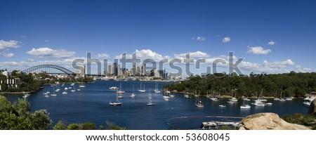 Sydney Australia city and bridge bay yacht day panoramic view from Waverton - stock photo