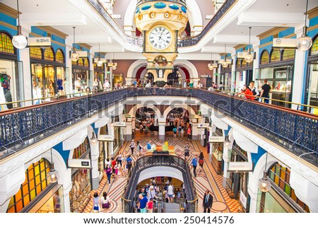 SYDNEY, AUSTRALIA-DEC 21, 2014: People shop at Queen Victoria Building (QVB) on Dec 31,2014 in Sydney, Austalia. It is a late nineteenth-century building designed by the architect George McRae. - stock photo