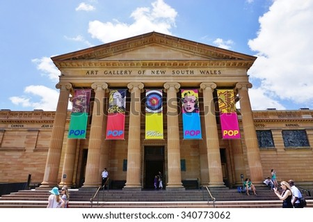 SYDNEY, AUSTRALIA -17 DEC 2014- The Art Gallery of New South Wales is a major public museum which exhibits Australian, European and Asian art. It is located in The Domain in Sydney. - stock photo