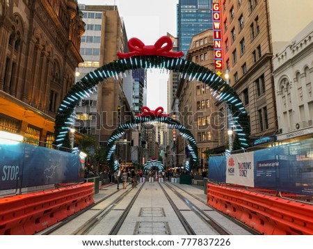 SYDNEY, AUSTRALIA - DECEMBER 12, 2017: George Street in Sydney CBD decorated with Christmas ornament and lights.