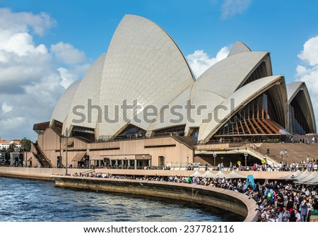 SYDNEY, AUSTRALIA - DECEMBER 12, 2014: Sydney Opera House view in Sydney, Australia. The Sydney Opera House is a famous arts center. It was designed by Danish architect Jorn Utzon - stock photo