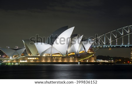 Sydney, Australia -February 05, 2016: Sydney Harbour Bridge and Opera House at Night
