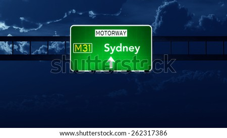 Sydney Australia Highway Road Sign at Night - stock photo
