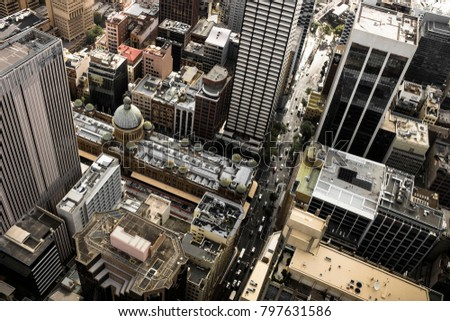 Sydney, Australia - January 18 2018: Aerial view from Sydney Tower towards Queen Victoria Building