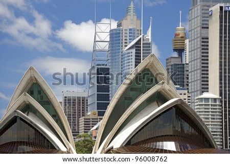 SYDNEY, AUSTRALIA - JANUARY 30, 2012: Famous 'Sydney Opera House,' the UNESCO Heritage Site, opened in 1975, was designed and built by Danish architect Jorn Utzon. January 30, 2012, Sydney, Australia - stock photo