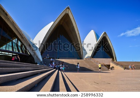 Sydney, Australia - January 23: Sydney Opera House on January 23, 2015 in Sydney, Australia. The Sydney Opera House is one of the most famous buildings and performing arts centers in the world.