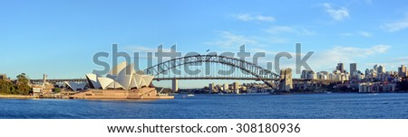 Sydney, Australia - July 17, 2014: Sydney Harbour, Bridge, Opera House & North Sydney  Panorama - stock photo
