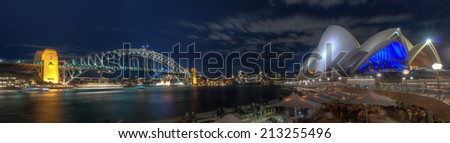 SYDNEY, AUSTRALIA - JULY 28, 2012: Wide-angle view across the harbour from Circular Quay to Luna Park and Lower North Shore, Sydney, NSW, Australia. - stock photo