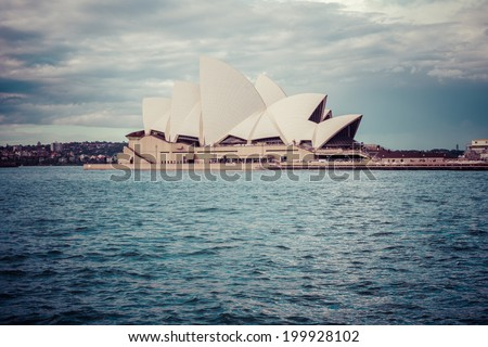 SYDNEY, AUSTRALIA - JUNE 20: Side view of Sydney's most famous icon, the Sydney Opera House Begin winter on Jun 20, 2014 in Sydney, Australia, process color - stock photo