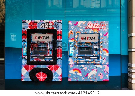 Sydney, Australia - Mar 26, 2016: ANZ GAYTM, ATM on Pitt street, Sydney. The Australia and New Zealand Banking Group Limited is the fourth largest bank by market capitalisation in Australia