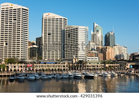 Sydney, Australia - 2016, Mar 26: Darling Harbour and Cockle bay wharf with city skyscrapers on the background