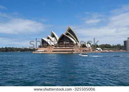SYDNEY, AUSTRALIA - MARCH 22: Side view of Sydney's most famous icon, the Sydney Opera House on March 22, 2015 in Sydney, Australia.