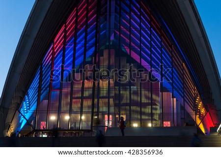 Sydney, Australia - 2016, May 27: Annual outdoor lighting festival Vivid Sydney: Festival of Light, Music & Ideas. Sydney Opera House illumination. Long Exposure - stock photo