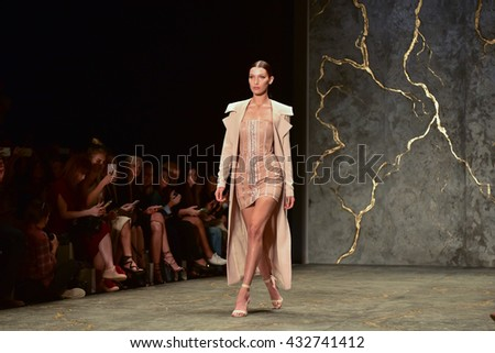 SYDNEY / AUSTRALIA - MAY 16: Model Bella Hadid walks runway during sexy lace female MISHA collection fashion show during Mercedes Benz Fashion Week Australia on 16 May 2016 in Carriageworks in Sydney - stock photo