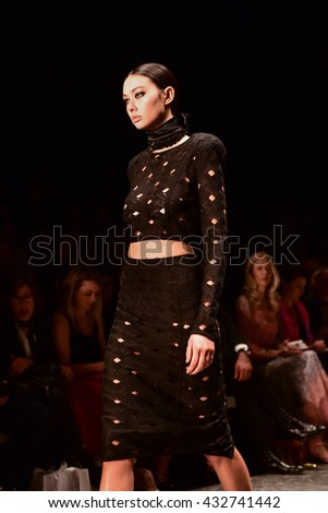 SYDNEY / AUSTRALIA - MAY 16: Model walks on runway during sexy lace female MISHA collection fashion show during Mercedes Benz Fashion Week Australia on 16 May 2016 in Carriageworks in Sydney - stock photo