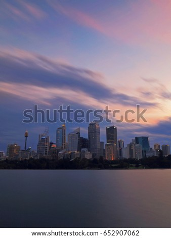 SYDNEY, AUSTRALIA - MAY 6, 2017: Sydney cityscape view after sunset