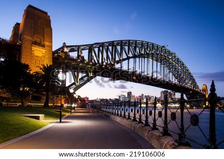 Sydney, Australia - May 12 - Sydney Harbour Bridge at dusk on 12th May 2014 - stock photo