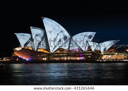 Sydney, Australia - 2016, May 27: Sydney Opera House illumination Lighting the Sails on lighting festival Vivid Sydney: Festival of Light, Music and Ideas