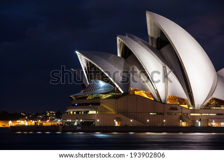Sydney, Australia - May 12 - Sydney Opera House on a beautiful autumn evening on May 12th 2014. - stock photo