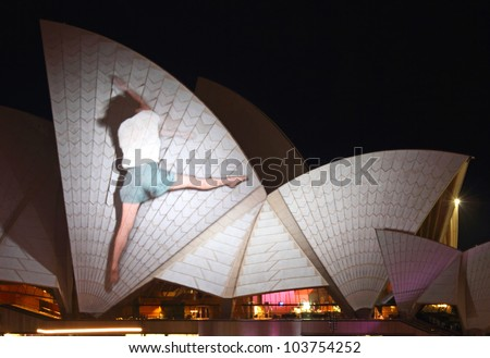 SYDNEY, AUSTRALIA - MAY 27: Sydney Opera House shown during Vivid Sydney 2012: A Festival of Light, Music & Ideas on May 27, 2012 in Sydney, Australia. - stock photo