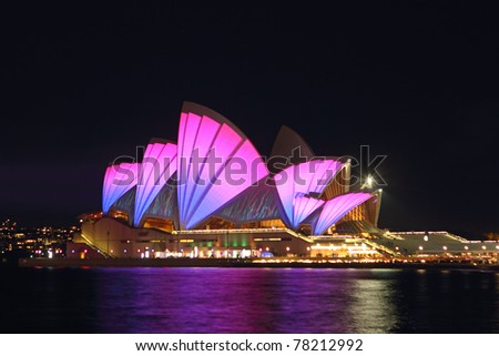 SYDNEY, AUSTRALIA - MAY 27: Sydney Opera House shown during Vivid Sydney: A Festival of Light, Music & Ideas on May 27, 2011 in Sydney, Australia.