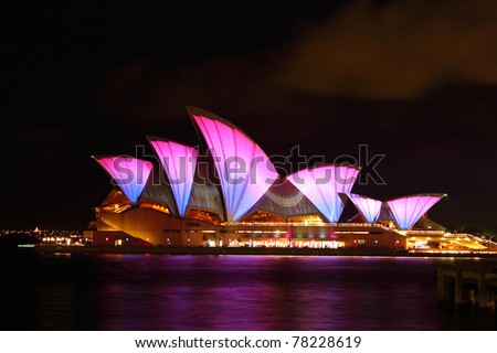 SYDNEY, AUSTRALIA - MAY 28: Sydney Opera House shown during Vivid Sydney: A Festival of Light, Music & Ideas on May 28, 2011 in Sydney, Australia. - stock photo