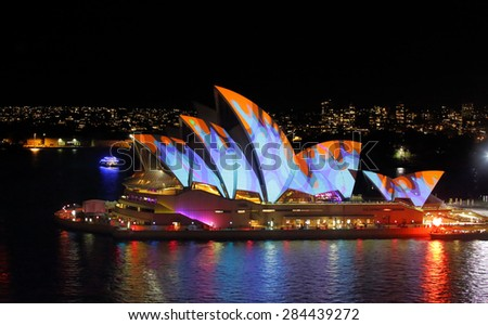 SYDNEY, AUSTRALIA - MAY 27, 2015; The Sydney Opera House comes alive each night during Vivid Sydney. - stock photo