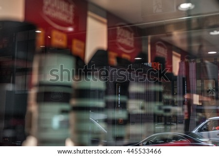 SYDNEY, AUSTRALIA - NOVEMBER 28, 2014: Abstract reflection of the Window in Sydney, Australia