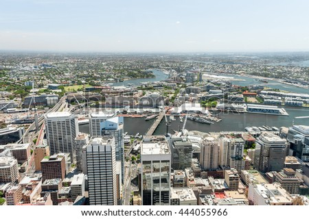 SYDNEY, AUSTRALIA - NOVEMBER 17, 2014: Cityscape of Sydney from Westfield Tower. Darling Harbour.