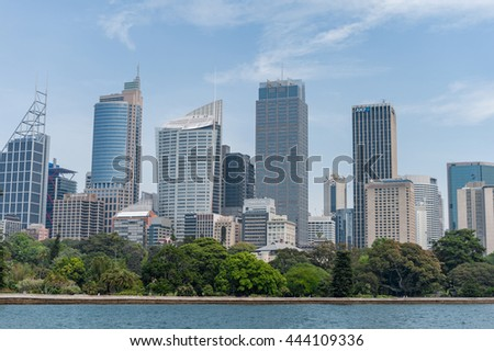 SYDNEY, AUSTRALIA - NOVEMBER 05, 2014: Sydney Business Area with Royal Botanic Gardens and River Water.
