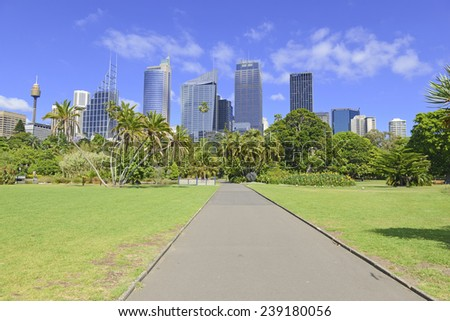 SYDNEY, AUSTRALIA � NOVEMBER 7, 2014.  Sydney is one of the greener cities with ample space for parks and gardens as the Royal Botanic Gardens demonstrate with a backdrop of skyscrapers.