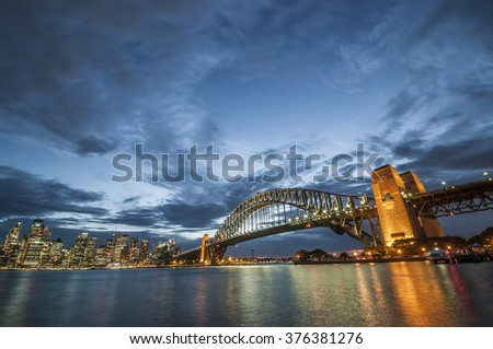 Sydney, Australia - Oct 21, 2015: View of the Harbour Bridge and City Sydney Tower, the most iconic landmarks in Sydney, Australia on night times.