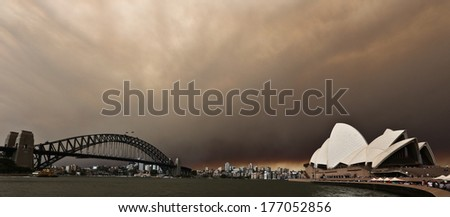 SYDNEY, AUSTRALIA � OCTOBER 17: at Sydney Harbour overlooking the Sydney Opera House after fire storm blew smoke and storm front through the city on October 17, 2013 in Sydney, Australia. - stock photo