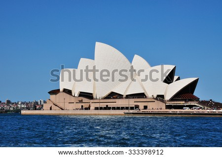 SYDNEY, AUSTRALIA - OCTOBER 19: The Iconic Sydney Opera house on October 19, 2015 in Sydney, Australia. Sydney Opera house is considered as the major landmark of Sydney and tourists attraction. - stock photo
